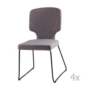 Sada 4 svetlosivých jedálenských stoličiek sømcasa Dana