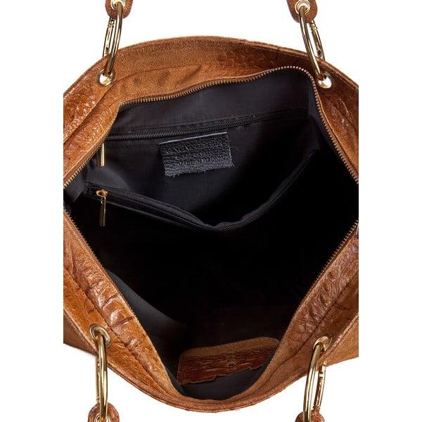 Koňakovohnedá kožená kabelka Massimo Castelli Ravenna