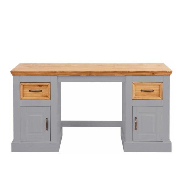 Sivý písací stôl z masívneho borovicového dreva Støraa Suzie