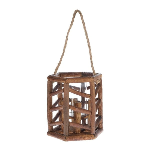 Drevený lampáš Bamboo, 24x27 cm