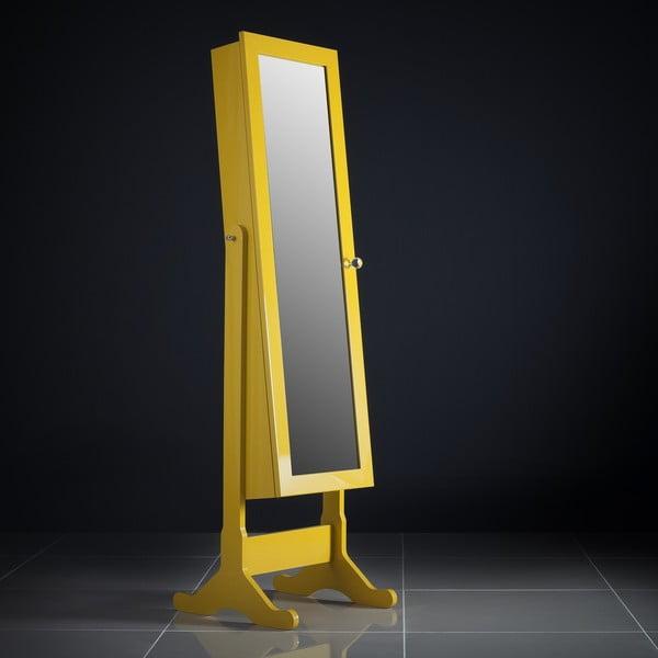Uzamykateľné stojacie zrkadlo so šperkovnicou Serena, žlté
