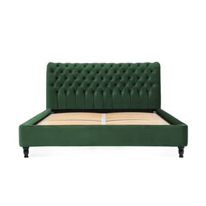 Zelená posteľ z bukového dreva s čiernymi nohami Vivonita Allon, 140 × 200 cm
