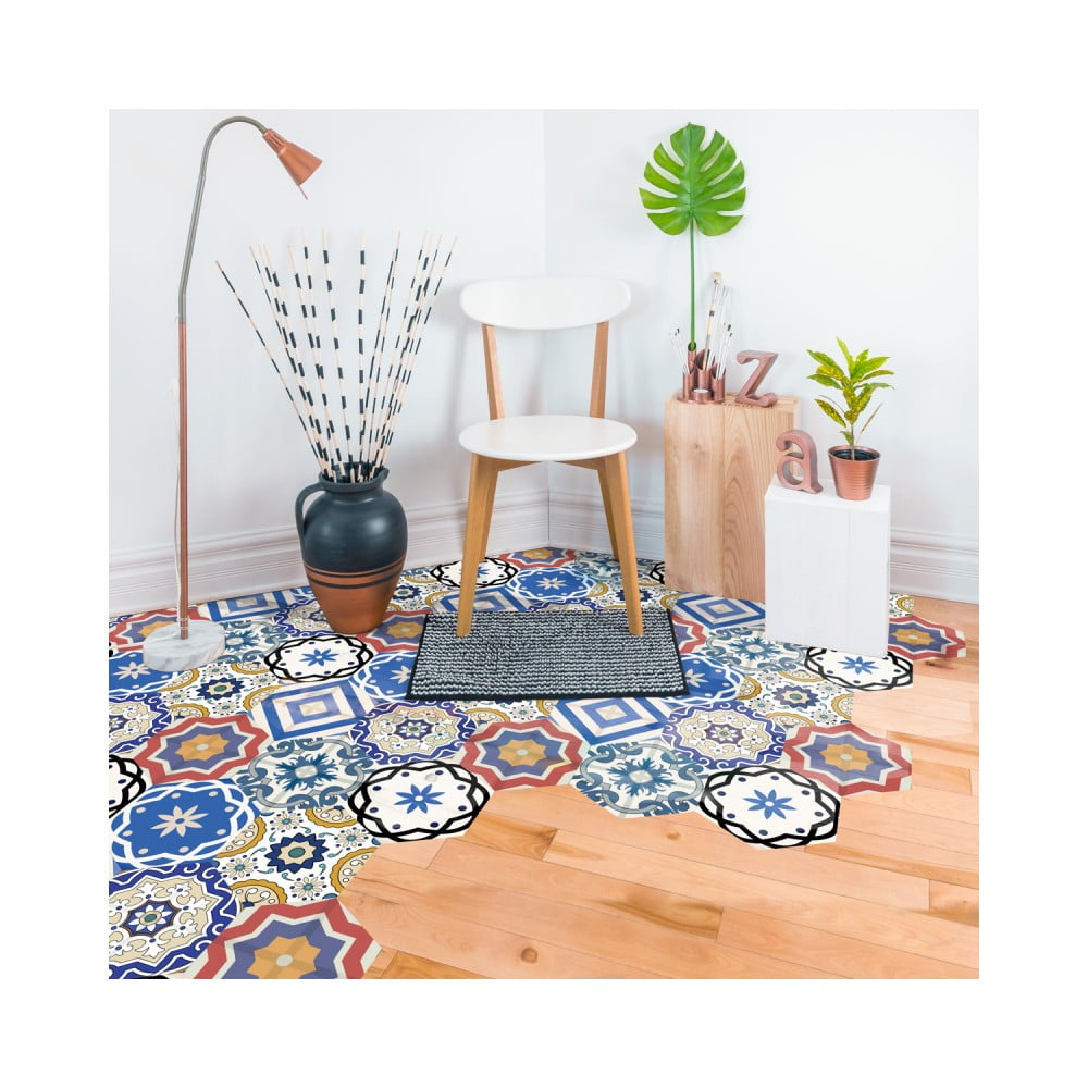 Sada 10 samolepiek na podlahu Ambiance Floor Stickers Hexagons Salvatore, 40 × 90 cm