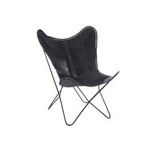 Čierne kožené kreslo J-Line Lounge