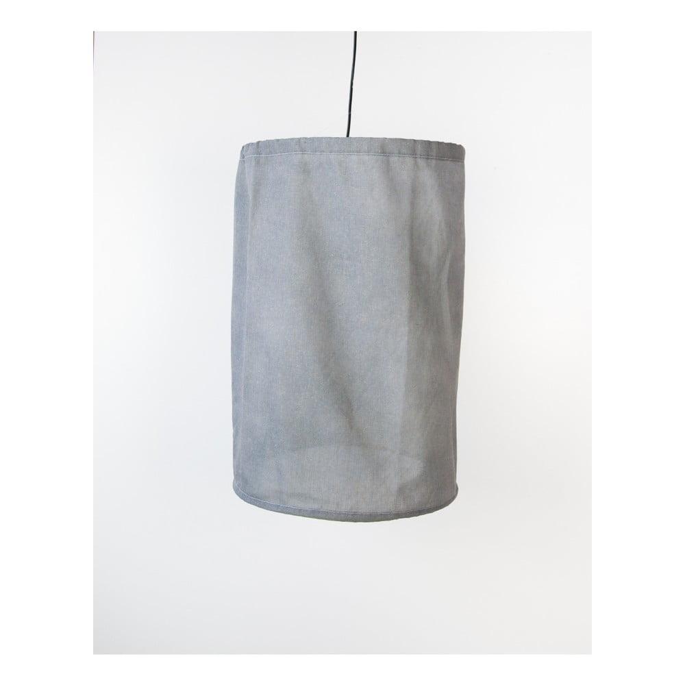 Sivé závesné svietidlo z ľanu a kovu Surdic, Ø 35 cm