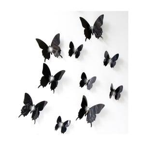 Sada 12 čiernych adhezívnych 3D samolepiek Fanastick Fanastick Wall Butterflies