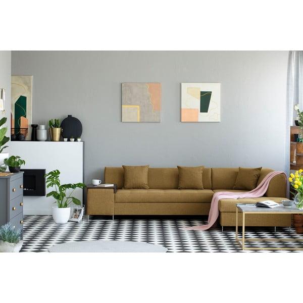 Medovožltá rohová rozkladacia pohovka s nohami v striebornej farbe Cosmopolitan Design Orlando, pravý roh