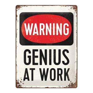 Plechová ceduľa Genius At Work, 30x40 cm