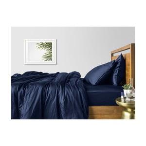 Sada 2 modrých bavlnených obliečok na jednolôžko s modrou plachtou COSAS Lago, 160×220cm