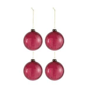 Sada 4 vianočných gulí J-Line Raspberry, ⌀ 10 cm