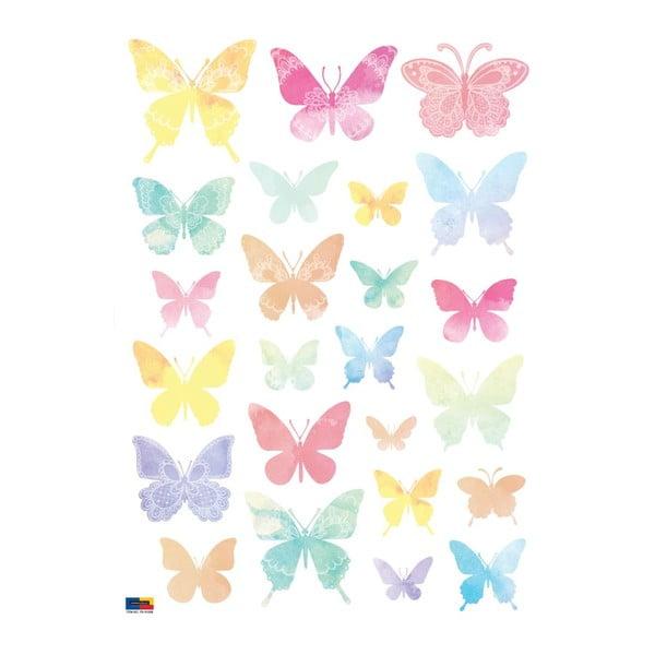 Sada 24 samolepiek Ambiance Artistic Butterflies