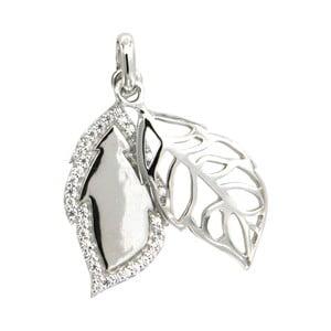 Strieborný prívesok s bielymi krištáľmi Swarovski Elements Crystals Leaf