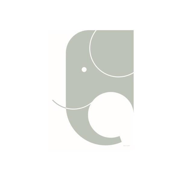 Plagát SNUG.Elephant, 50x70 cm, svetlosivý