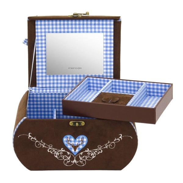 Šperkovnica Bagvaria Brown/Blue, 22x14,5x13,5 cm