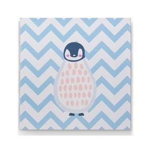 Nástenný drevený obraz s motívom tučniaka KICOTI Blue, 40 × 40 cm