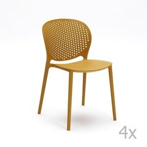 Sada 4 žltých stoličiek Design Twist Gavle