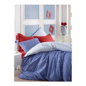 Modré bavlnené obliečky na dvojlôžko s plachtou Pave, 200 x 220 cm