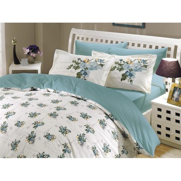 Bavlnené obliečky s plachtou Spring Turquoise, 200×220cm