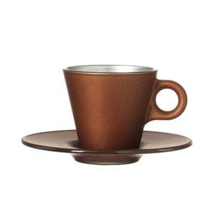 Hnedý metalický hrnček na espresso meniaci farbu LEONARDO Ooh! Magico
