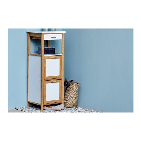 Bambusový kúpeľňový regál s 2 policami a úložným priestorom Wenko Finja