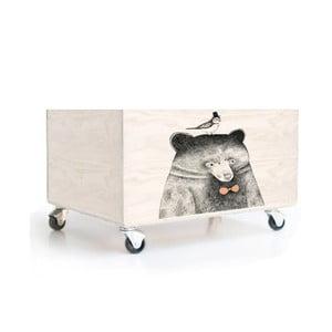 Drevená škatuľa na kolieskach Little Nice Things Bear