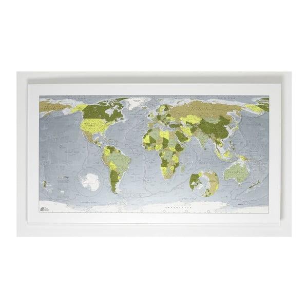 Zelená magnetická mapa sveta The Future Mapping Company Colour Map, 130x72cm