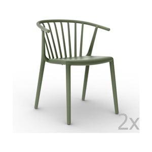 Sada 2 zelených záhradných stoličiek Resol Woody