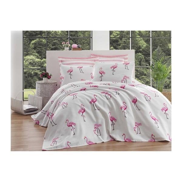 Bavlnená prikrývka cez posteľ na dvojlôžko Single Pique Tara, 200×235 cm