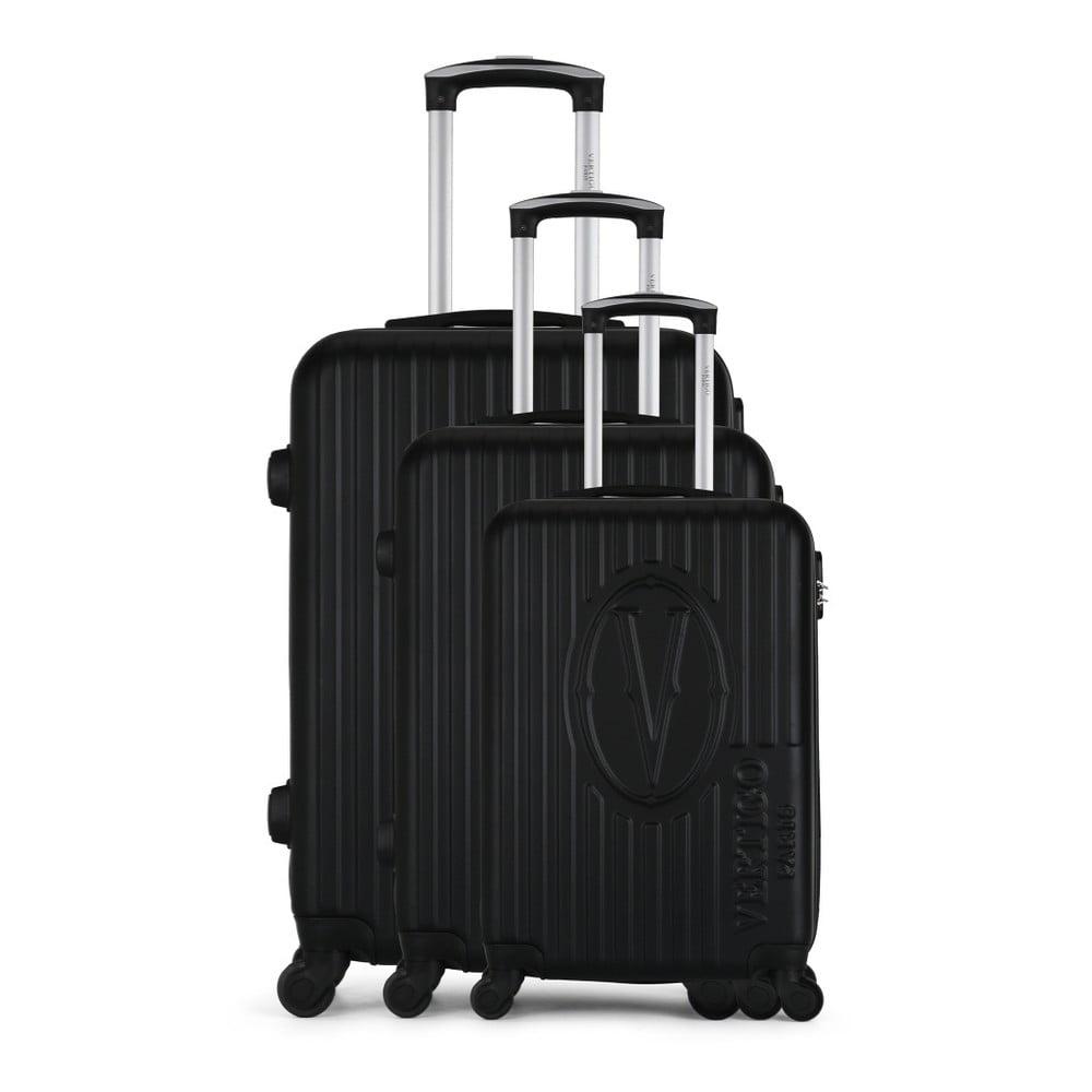 Sada 3 čiernych cestovných kufrov na kolieskach VERTIGO Cadenas Integre Roues