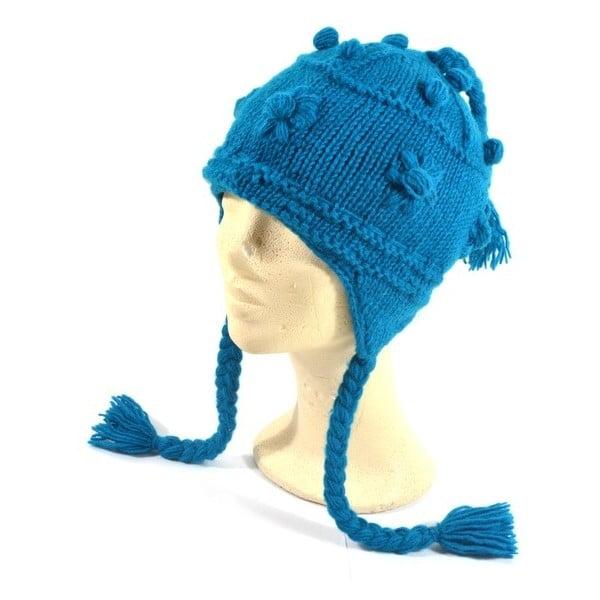 Vlnená čiapka s ušami Modrá zdobená
