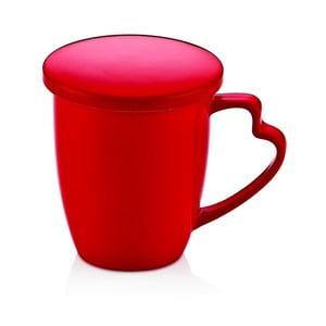 Červený porcelánový hrnček s viečkom Kirmizi Kapakli Kupa