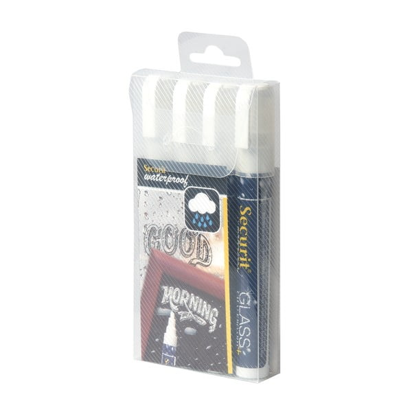 Sada 4 bielych vodoodolných kriedových fixiek Securit® White