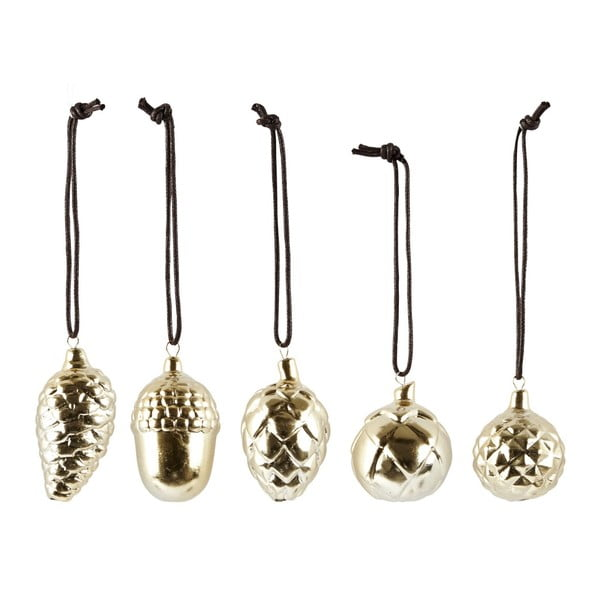 Sada 5 vianočných keramických dekorácií Villa Collection Ceramic Gold Shiny