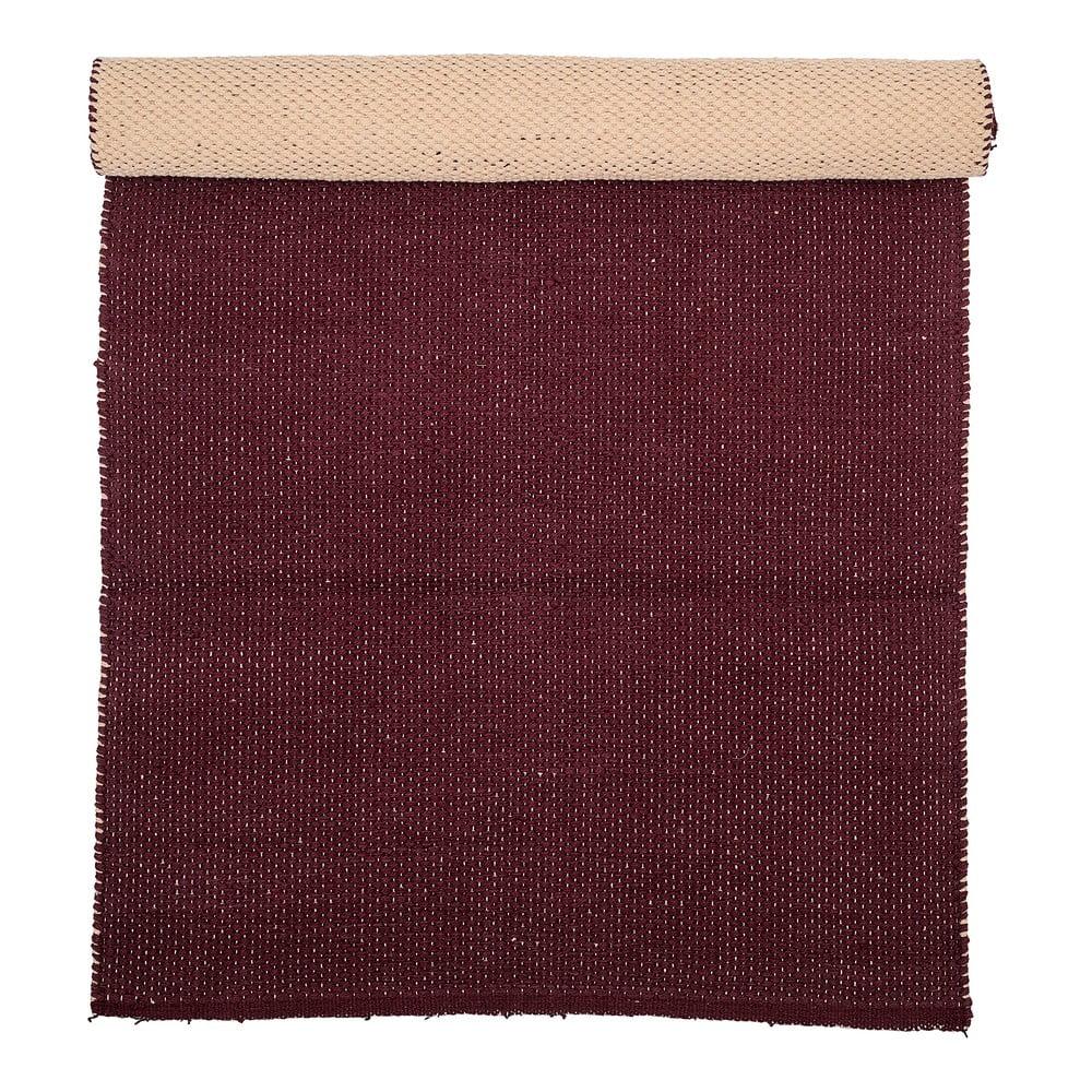 Tmavočervený bavlnený koberec Bloomingville Uni, 60 x 120 cm