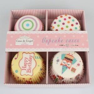 Sada 100 košíkov na pečenie na muffiny so zápichovacími ozdobami Dakls Happy Birthday