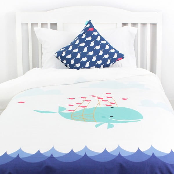 Detské bavlnené obliečky Baleno Whale Ride, 140 x 200 cm
