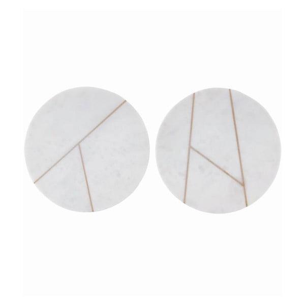 Sada 2 mramorových podložiek Marble White, 18 cm
