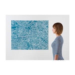 Modrá nástenná mapa Palomar Pin Berlín
