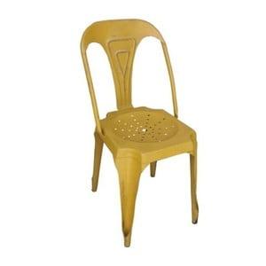 Žltá kovová jedálenská stolička Chaise Jaune