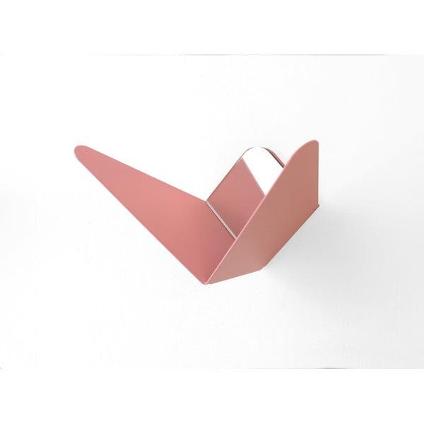 Ružový vešiak s úložným priestorom Butterfly, 8,9x8,3cm
