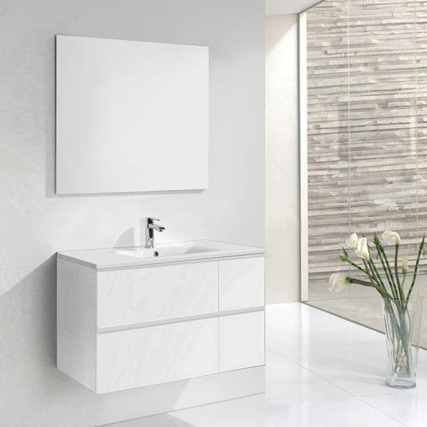 Kúpeľňová skrinka s umývadlom a zrkadlom Monza, odtieň bielej, 120 cm