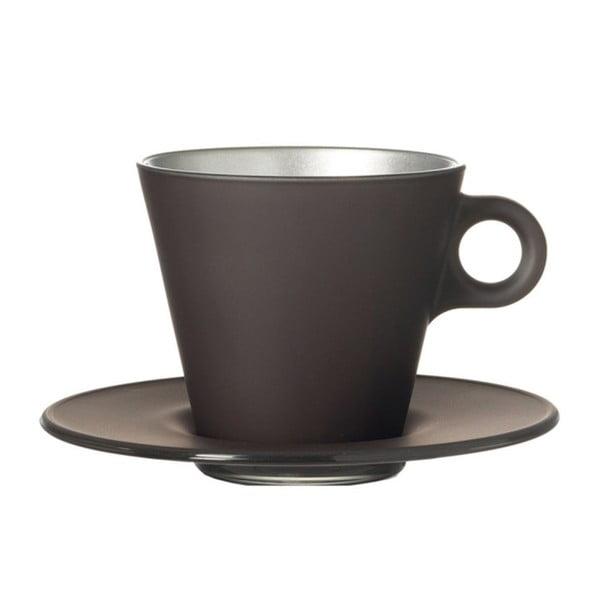 Sivý metalický hrnček na cappuccino meniaci farbu LEONARDO Ooh! Magico