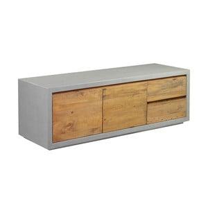 Sivý TV stolík z borovicového dreva Woodking Stonewall