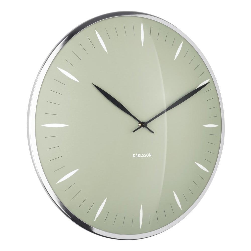 Zelené sklenené nástenné hodiny Karlsson Leaf, ø 40 cm