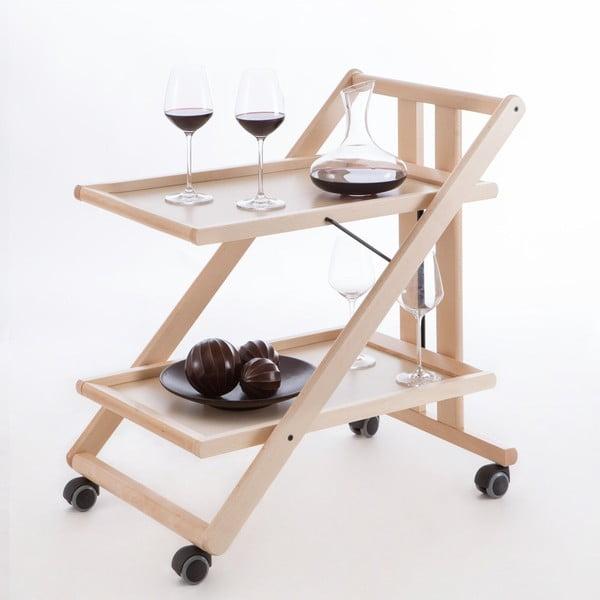 Biely pojazdný servírovací stolík z bukového dreva Arredamenti Italia Gimmy
