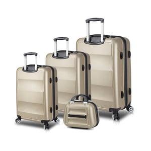 Sada 3 cestovných kufrov na kolieskach s USB porty a príručného kufríka v zlatej farbe My Valice LASSO Travel Set