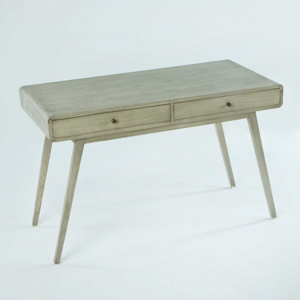 Sivý pracovný stôl z lakovaného dreva borovice Thai Natura Student, 120 × 76 cm