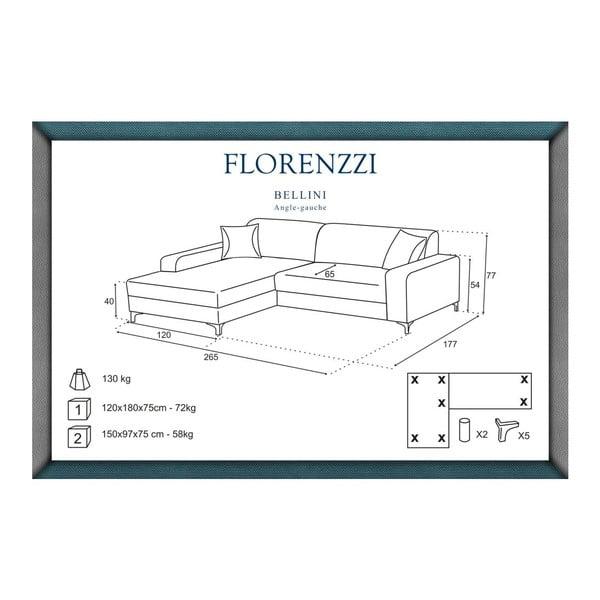 Hnedá pohovka Florenzzi Bellini s leňoškou na ľavej strane