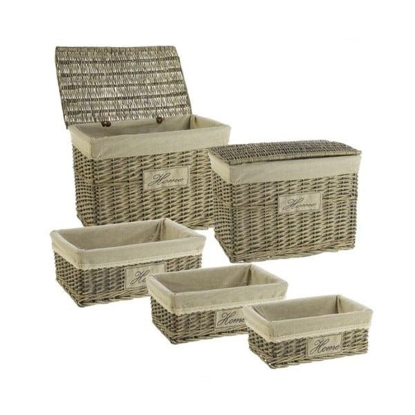 Set 5 prútených boxov Cosas de Casa Chic Home, tmavý