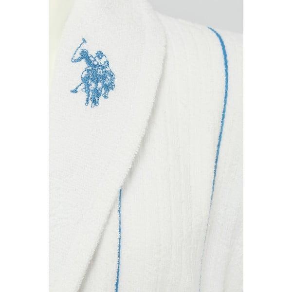 Biely pánsky župan s modrým detailom U.S. Polo Assn Casper, veľ. S/M